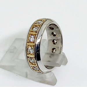 Ladies Eternity Band Yellow-and-White-Gold
