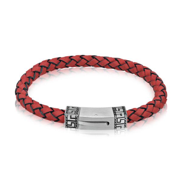 Greek Design Red Leather Bracelet ARZ-Steel