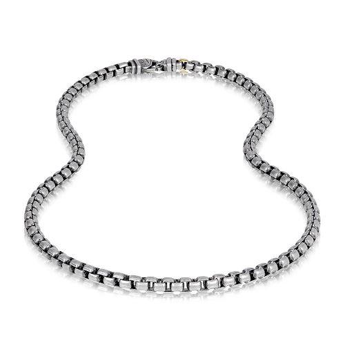 Round box link Necklace ARZ-Steel