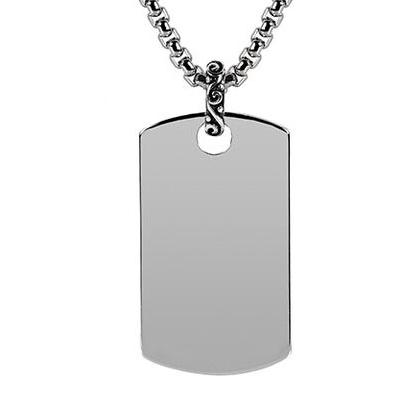Steel dog tag Pendant w/Chain ARZ-Steel