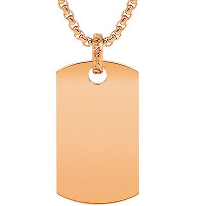 Rose gold dog tag Pendant w/Chain ARZ-Steel