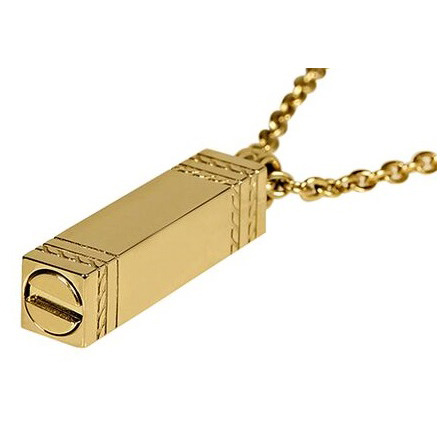 Gold rectangle ashes Pendant w/Chain ARZ-Steel