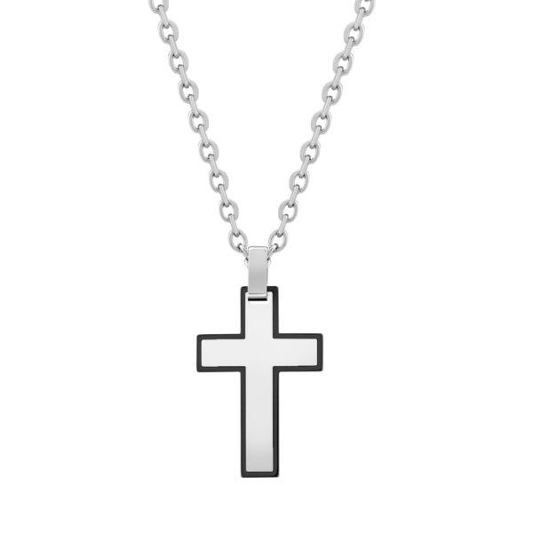 Black steel cross Pendant Chain, w/Chain ARZ-Steel