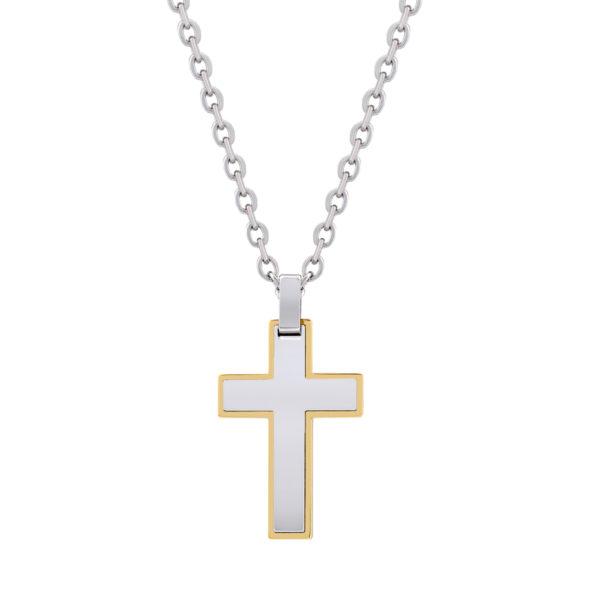 Gold steel cross Pendant w/ Chain ARZ-Steel
