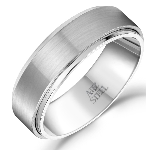 7mm Matte & Shiny Steel Ring ARZ-Steel