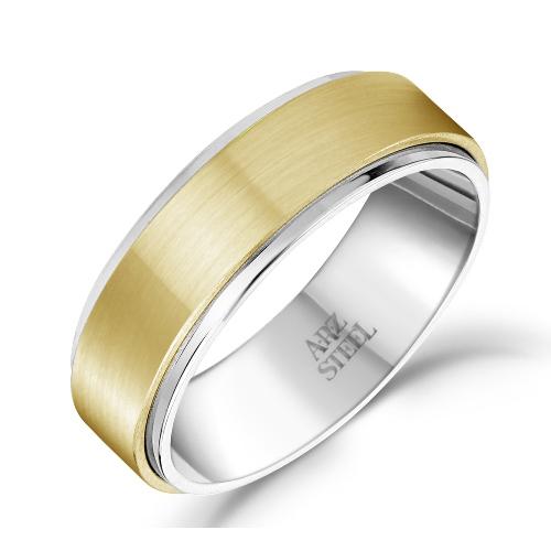 7mm Matte & Shiny Gold Steel Ring ARZ-Steel