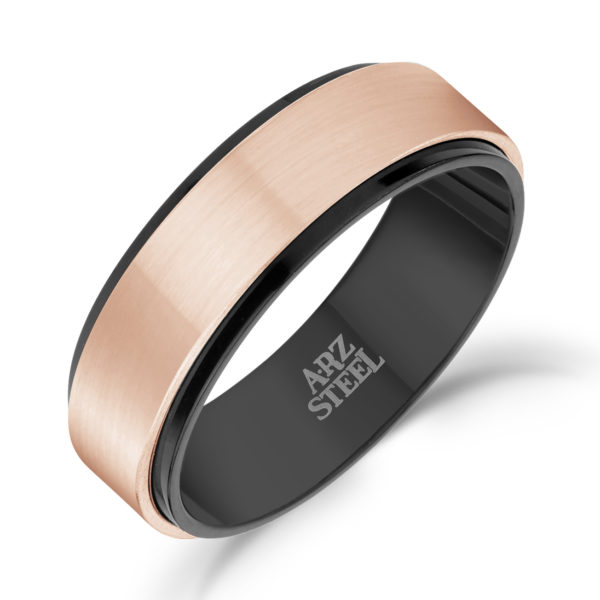 7mm Black & Rose Gold Steel Ring ARZ-Steel