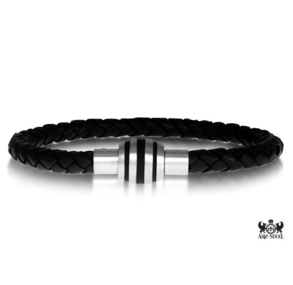 Steel black leather Bracelet