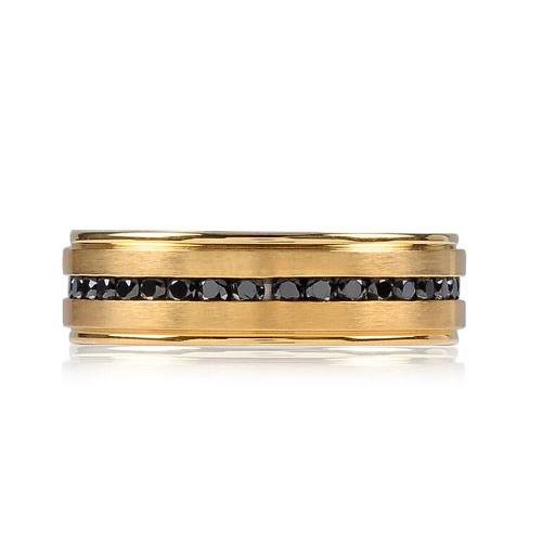 Gold Steel Black Stone Ring ARZ-Steel