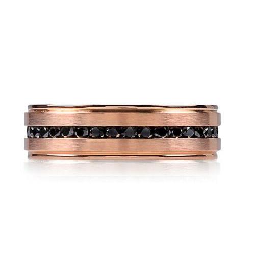 Rose Gold Steel Black Stone Ring ARZ-Steel