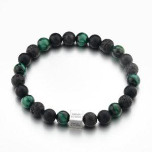 Black Lava, Matt Onyx and Green Tiger Stones Armo-Stone