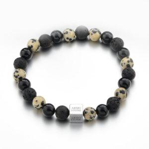 Matt Onyx, Lava and Cream Dalmatian Jasper Stones Armo-Stone