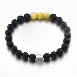 3 Yellow Jasper Stones and Matt Onyx Armo-Stone