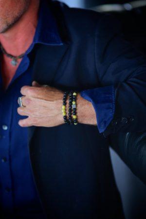 Matt Onyx, with Lava and Yellow Jasper Stones Armo-Stone